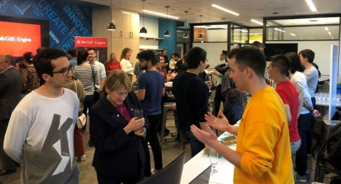 Students demonstrating their TechAccel projects at the McGill Engine Centre