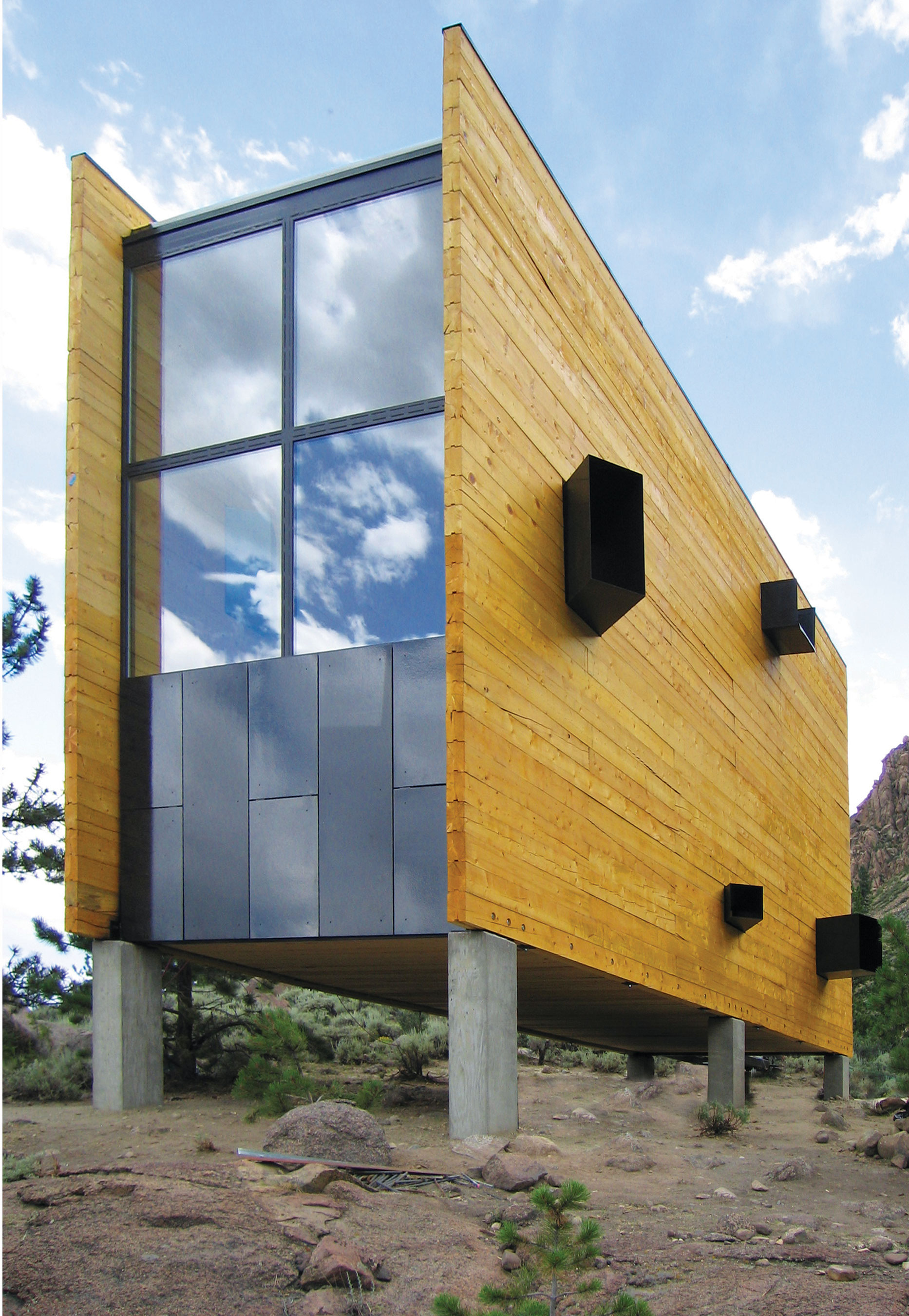 Prof. Kiel Moe's design techniques are seen in this wooden structure erected in Colorado