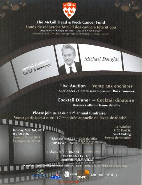 Poster for the 2011 McGill Head and Neck Cancer Fundraiser honouring Michael Douglas
