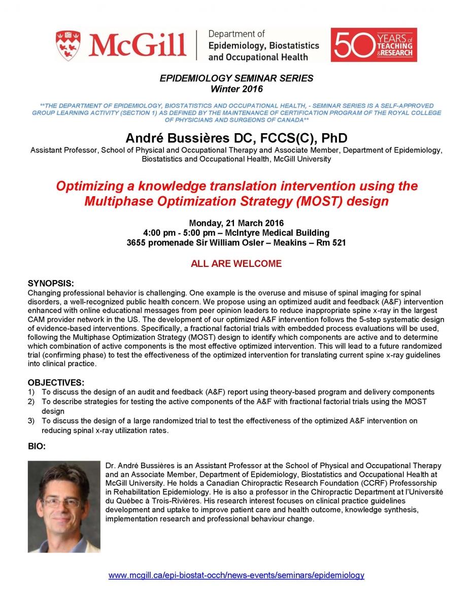 Epidemiology Seminar Optimizing A Knowledge Translation