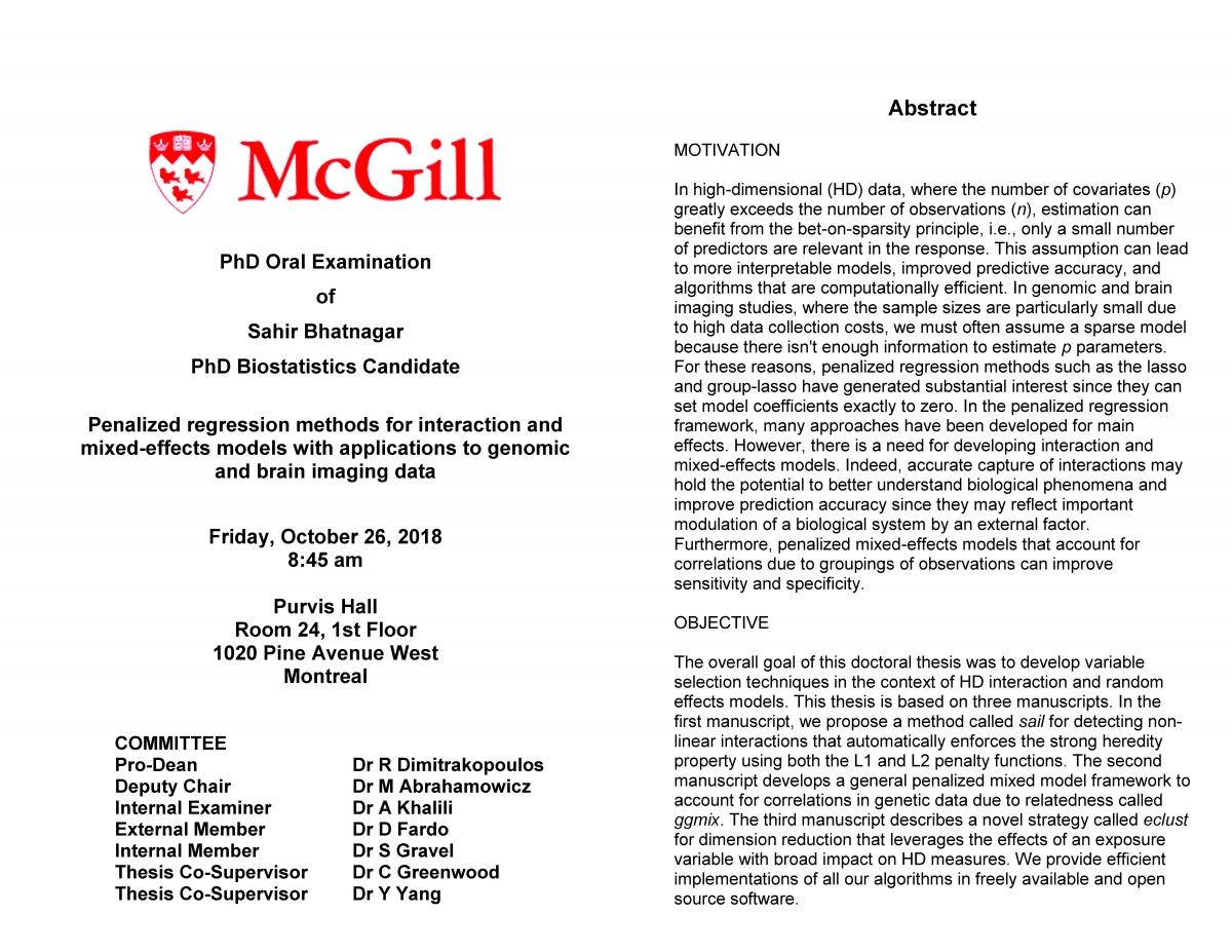 PhD Oral Defense: Sahir Bhatnagar: Penalized regression