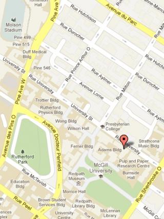 Google Map of Adams Building, McGill University