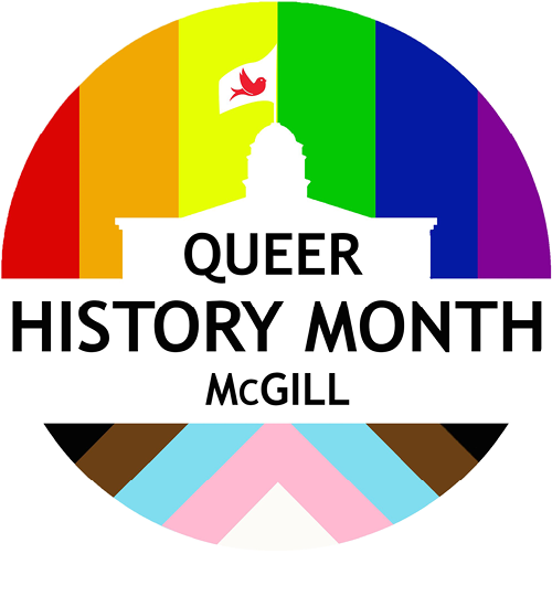 Queer History Month McGill Logo, rainbow stripes with white silhouette of Arts Building in front