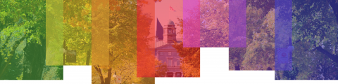 Banner with rainbow of colours over a picture of McGill's campus.