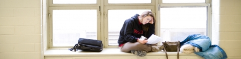 Girl studying for final exam