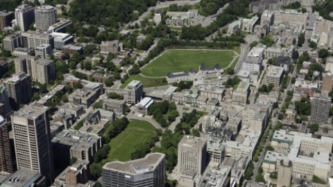 Aerial shot of downtown campus