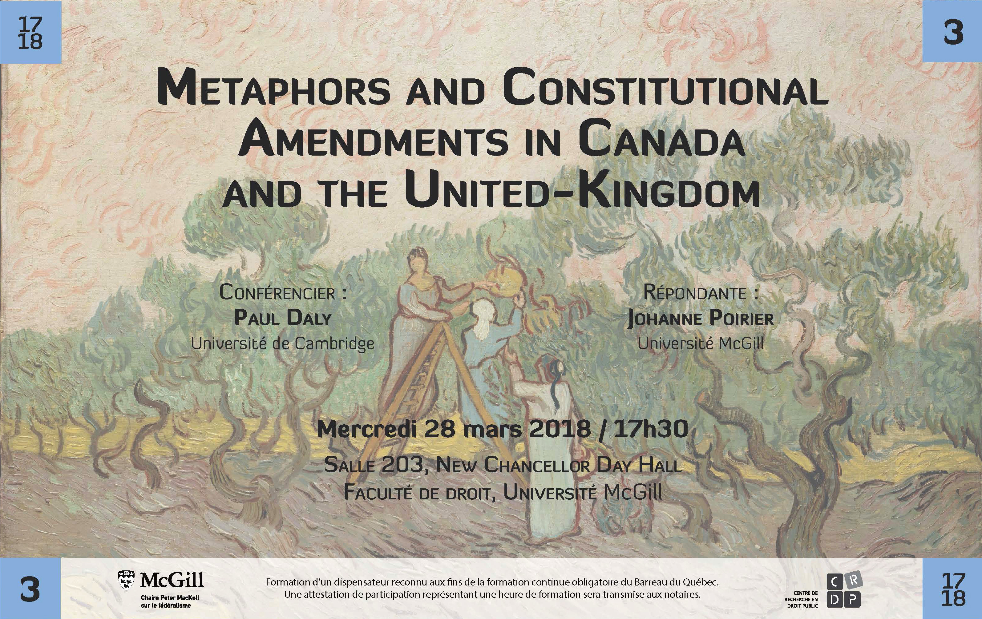 28 March 2018: Metaphors and Constitutional Amendments in Canada and the UK, with Paul Daly, Cambridge U.