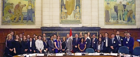 """""""Rewriting the Canadian Constitution"""" Class Ottawa in April 2017. The course was taught by Profs Johanne Poirier (McGill) and Daniel Turp (UdeM), and enrolled students from both universities."""