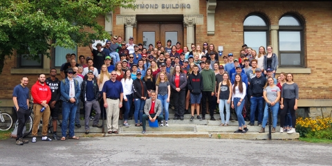 Fall 2019 FMT program staff and students on steps of raymond building