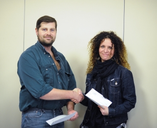Amelie Sarrasin receiving her Warren Grapes Agricultural Education Scholarship in 2014.