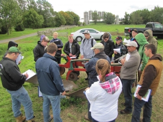 In the afternoon, the other group observes a moldboard plow.