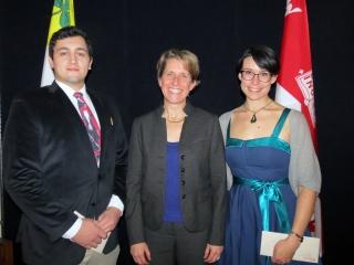 Dean Geitmann presents Thomas MacDougall and Tori Ames with the 2016 Stuart McDonald Memorial Bursaries