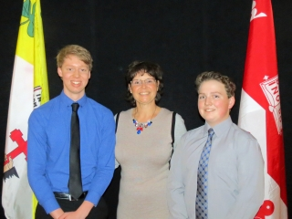 "Haut-Saint-Laurent UPA ""Spirit of Agriculture"" Award winners Eric Brooks and Noel Erskine with UPA representative Céline Raby"