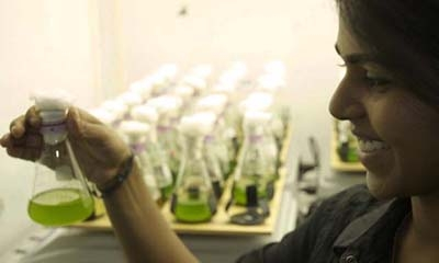 Student looking at water samples in a flask