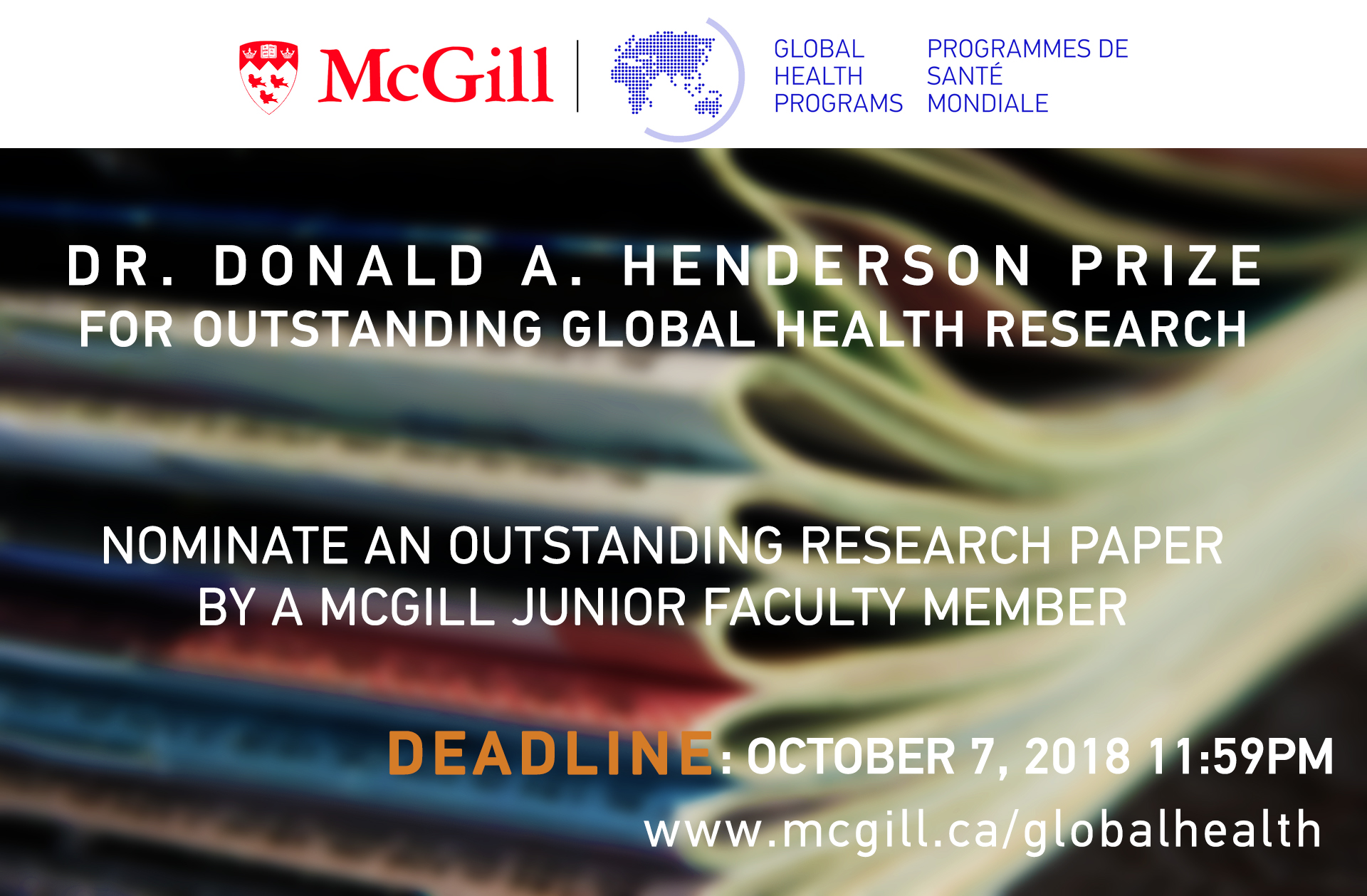Dr. Donald A. Henderson Prize Call for nominations - Deadline October 7