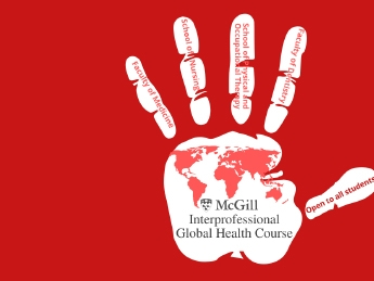 """white Hand print with """"IPGHC"""" and a red world map and """"Medicine"""", """"Nursing"""", """"Dentistry"""" and PT/OT on the fingers"""