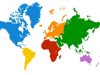 World Map with each contient in a different colour