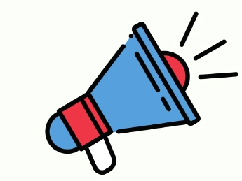 Drawing of a red and blue megaphone with sound lines