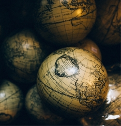 collection of ancient-style globes