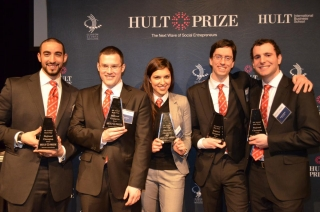 photo of the winning team with their Hult awards