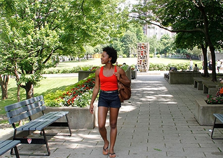 McGill student exploring the downtown campus