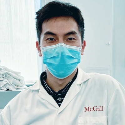 Student researcher with mask