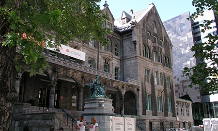 Front view of Strathcona Music Building, McGill University, with Elizabeth Wirth Music Building to the right