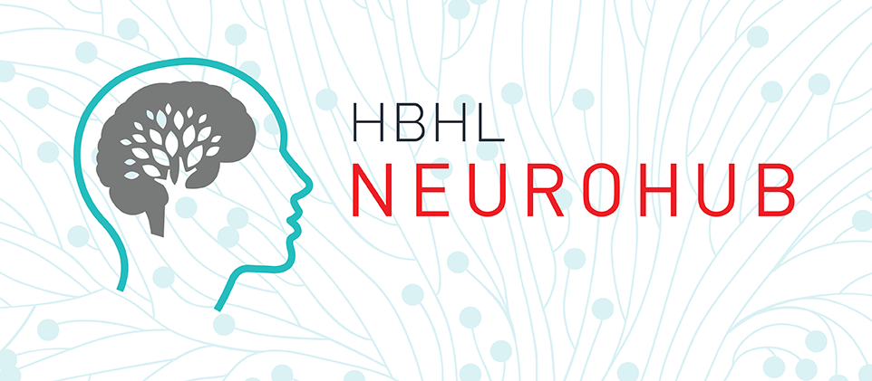 Banner with NeuroHub logo and vector art of a brain in the background