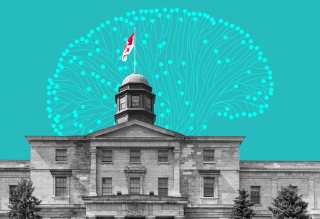 Black and white image of the McGill University Arts Building against a blue background with a vector art brain.