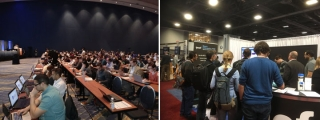Left: Dr. JP Poline spoke to a full house at SfN; Right: CBRAIN presented by Greg Kiar