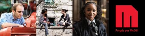 3 portraits avec la marque Forgé par McGill (technicien blanc travaillant aux réparations, deux collègues bavardant sur un banc à l'extérieur, jeune agent de sécurité noir regardant la caméra avec confiance)