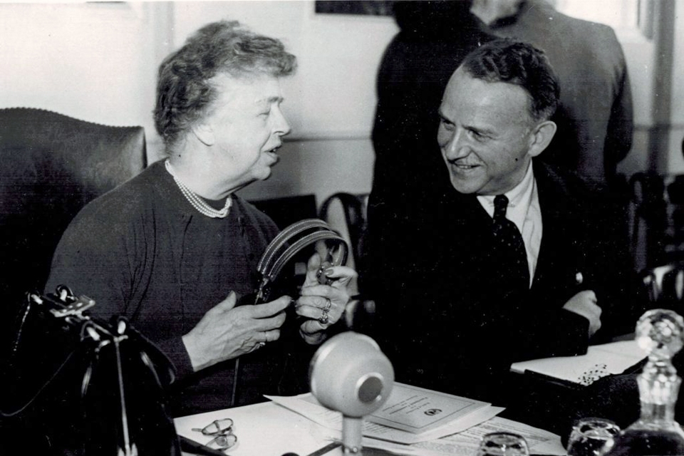 Eleanor Roosevelt and John Peters Humphrey in conversation.