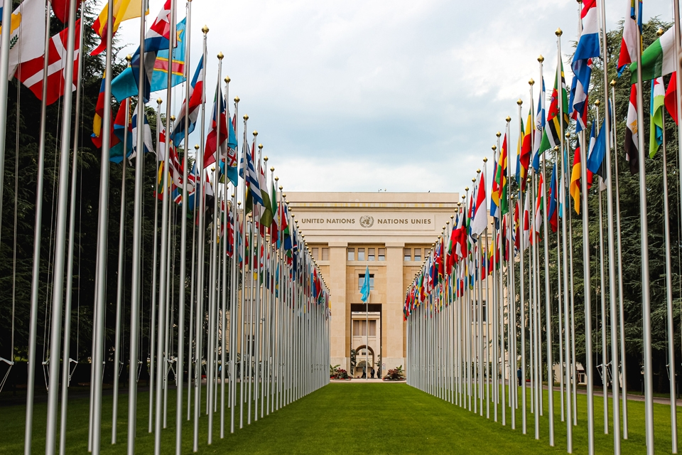 Rows of flags leading to the entrance of a UN building in Geneva, Switzerland. Photo by Mat Reding, via Unsplash.com