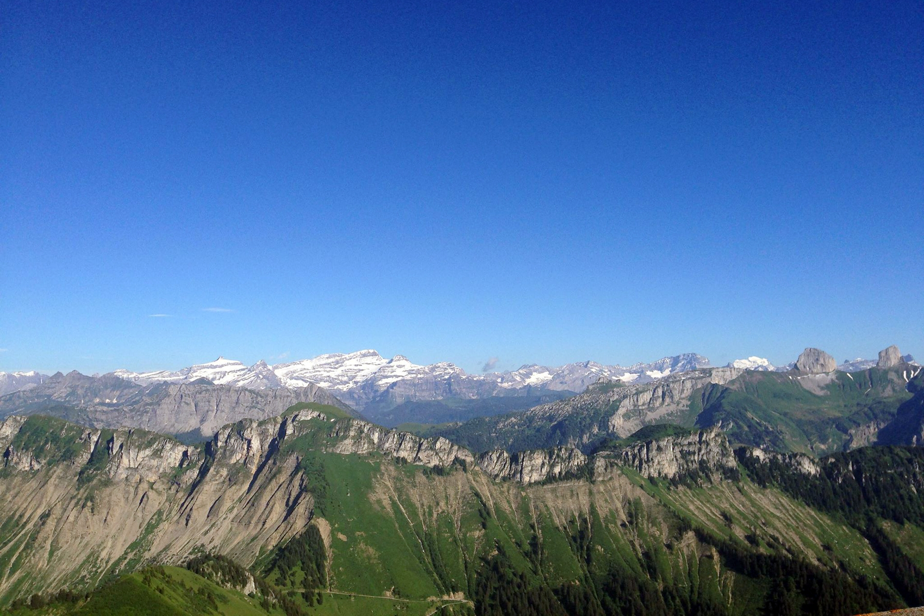Mountains under a blue sky