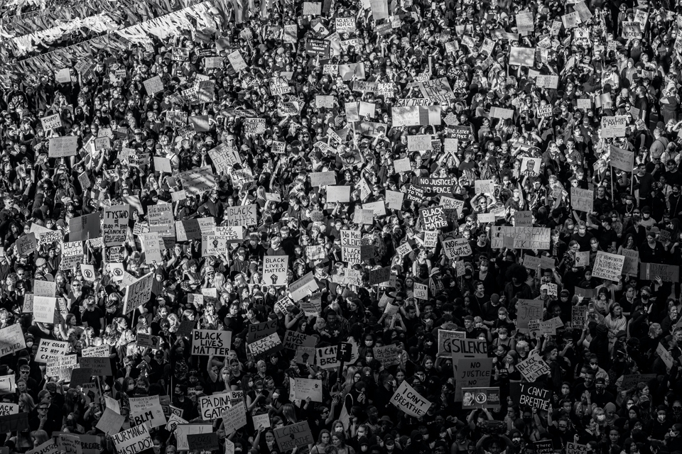 Black and white photo of BLM protests by Teemu Paananen, via Unsplash.com