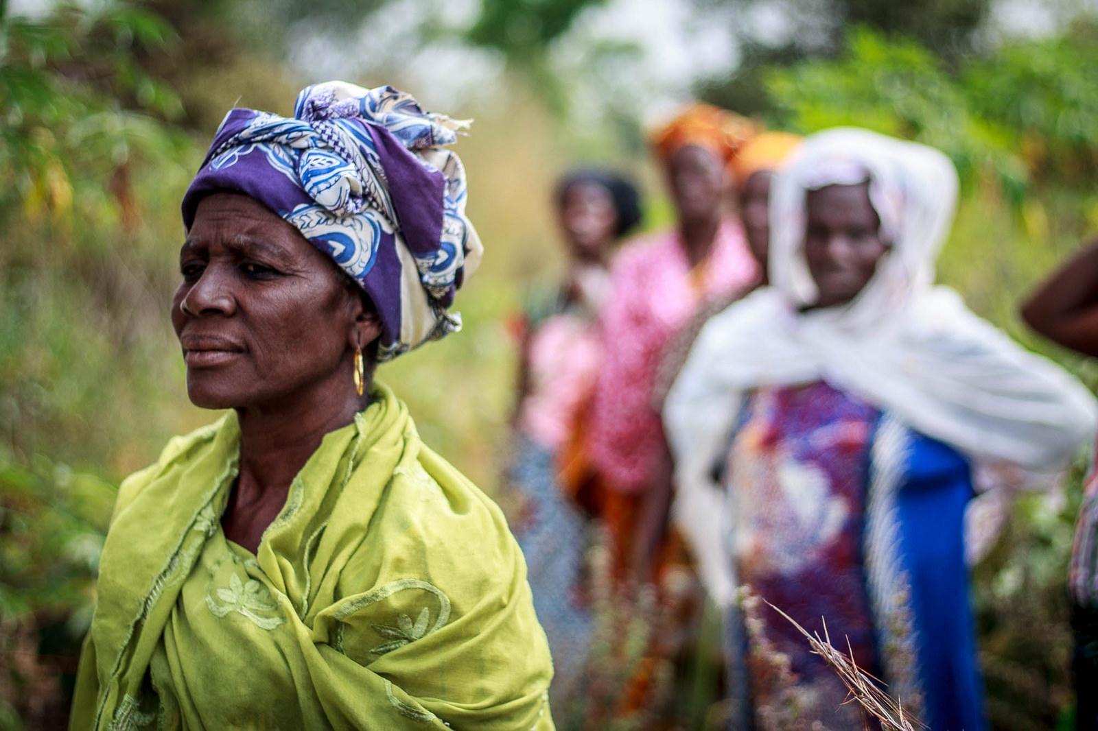 Women walking in a field in Africa