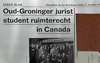 Press clipping from a Dutch newspaper about a visit to Air Canada by LLM class of 1969 students