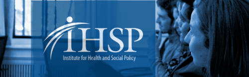 Students with white Institute for Health and Social Policy logo