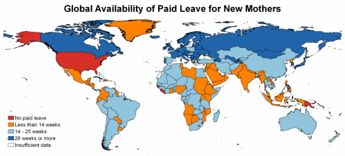 Graphic representation of global availability of paid leave for new mothers