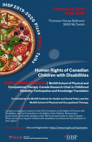 Promotional flyer for the seminar Human Rights of Canadian Children with Disabilities with Keiko Shikako-Thomas