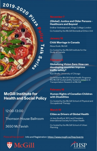 Promotional flyer for the Pizza Policy Talk 2019-2020 series