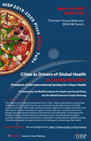 Promotional Flyer for Jo Ivey Boufford Cities as Drivers of Global Health