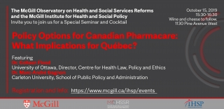 Promotional flyer for Policy Options for Canadian Pharmacare: What Implications for Québec? Featuring Dr. Colleen Flood