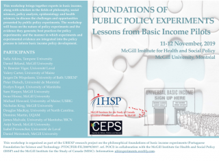 Promotional flyer for Foundations of Public Policy Experiments Lessons from Basic Income Pilots 11-12 November 2019