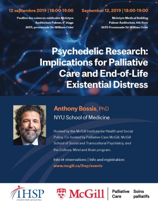 Promotional flyer for Psychedelic Research: Implications for Palliative Care and End-of-Life Existential Distress with Anthony Bossis