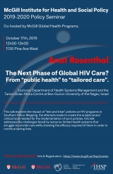 "Promotional flyer for The Next Phase of Global HIV Care? From ""public health"" to ""tailored care"" with Anat Rosenthal"