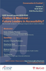 Promotional flyer for IHSP Annual Launch 2019-2020 Québec & Montréal – Future Leaders in Accessibility?