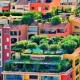 Colorful urban gardening, green city-scaping