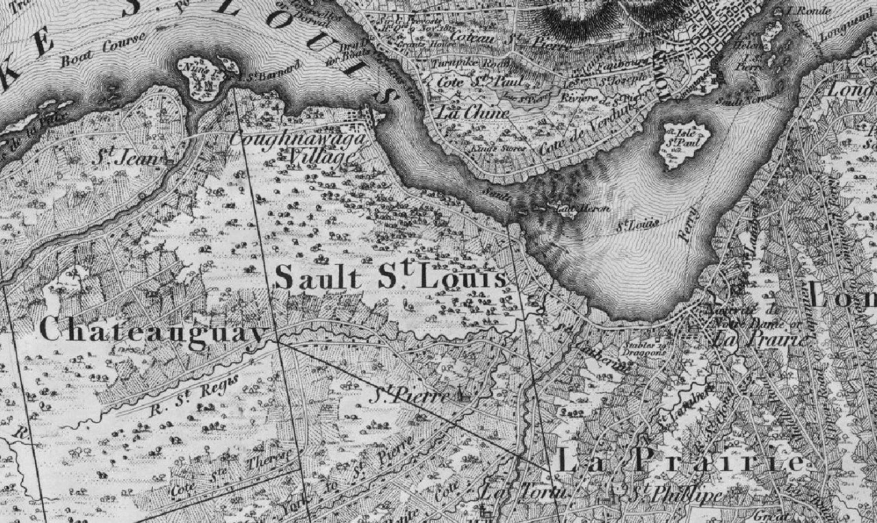 A map from 1815 depicting the area of Kahnawake, or Sault St. Louis.
