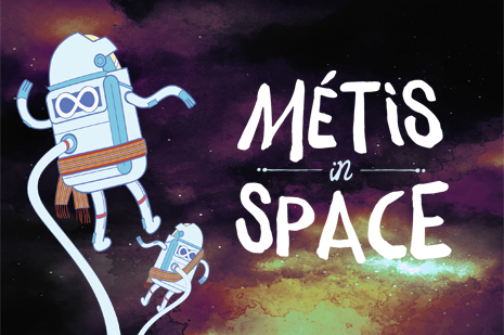 "Two Metis astronauts floating in space with the words ""Metis in Space"""